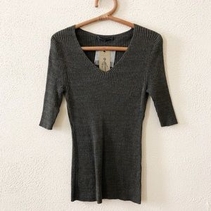 NWT Peruvian Connection Ribbed V-Neck Sweater L
